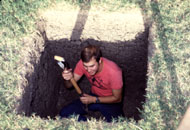 Randy - WD5BIK digging the hole for the EME tower base.