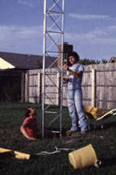 Randy - WD5BIK and George - WB5VZL leveling the tower.